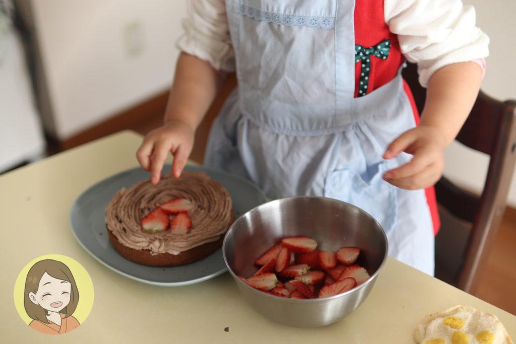 3歳とcotta手作りケーキセット「簡単クリスマスケーキ」を作った口コミ